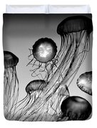 Jellyfish In Monochrome Duvet Cover