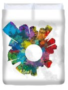 Jersey City Small World Cityscape Skyline Abstract Duvet Cover