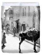 Jerusalem Street In 1914 Duvet Cover
