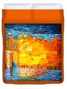 Jerusalem Wailing Wall Original Acrylic Palette Knife Painting Duvet Cover