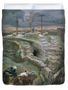 Jesus Alone On The Cross Duvet Cover by Tissot