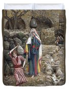 Jesus And His Mother At The Fountain Duvet Cover