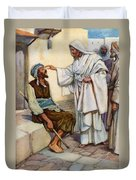 Jesus And The Blind Man Duvet Cover