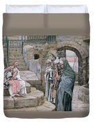 Jesus And The Little Child Duvet Cover by Tissot