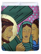 Jesus And The Women Of Jerusalem Duvet Cover