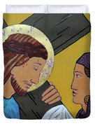 Jesus And Veronica Duvet Cover