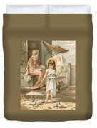 Jesus As A Boy Playing With Doves Duvet Cover by John Lawson