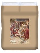 Jesus Being Crucified Duvet Cover