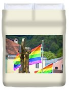 Jesus Christ Crucifixion And Gay Pride Flags View Duvet Cover