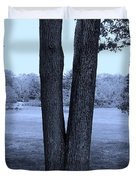 Jesus Christ Tree Cyan Duvet Cover