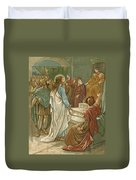 Jesus In Front Of Pilate Duvet Cover by John Lawson