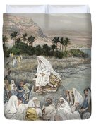 Jesus Preaching By The Seashore Duvet Cover