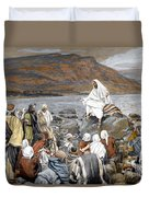 Jesus Preaching Duvet Cover