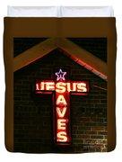 Jesus Saves In Neon Lights Duvet Cover