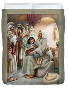 Jesus Teaching The People Duvet Cover