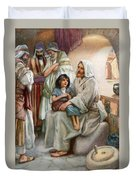 Jesus Teaching The People Duvet Cover by Arthur A Dixon
