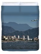 Jet Plane Taking Off From Puerto Vallarta Airport With Pacific O Duvet Cover