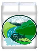 Jetboat River Canyon Mountain Oval Retro Duvet Cover