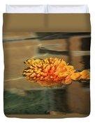 Jewel Drops - Orange Chrysanthemum Bloom Floating In A Fountain Duvet Cover