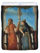 Jewish Women At The Balcony In Algiers Duvet Cover by Theodore Chasseriau