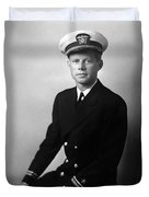 Jfk Wearing His Navy Uniform Painting Duvet Cover