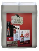 Jim Beam's Old Crow And Red Stag Signs Duvet Cover