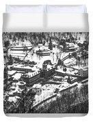 Jim Thorpe Pennsylvania In Winter In Black And White Duvet Cover