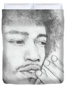 Jimi Hendrix Artwork Duvet Cover by Roly Orihuela