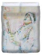 Jimi Hendrix Playing The Guitar.9 - Watercolor Portrait Duvet Cover