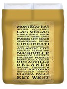 Jimmy Buffett Margaritaville Locations Black Font On Yellow Brown Texture Duvet Cover
