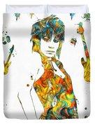 Joan Jett Colorful Paint Splatter Duvet Cover