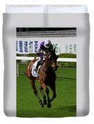 Jockey In Purple And White Riding Racehorse Duvet Cover