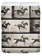 Jockey On A Galloping Horse Duvet Cover