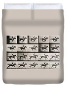 Jockey On A Galloping Horse Duvet Cover