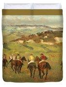 Jockeys On Horseback Before Distant Hills Duvet Cover by Edgar Degas