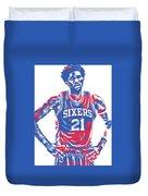 Joel Embiid Philadelphia Sixers Pixel Art 10 Duvet Cover