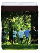 Joggers In The Park Duvet Cover by Susan Savad