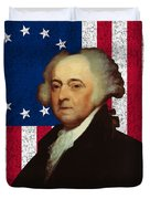 John Adams And The American Flag Duvet Cover