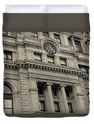 John Adams Courthouse Boston Ma Black And White Duvet Cover