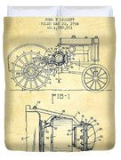 John Deere Tractor Patent Drawing From 1934 - Vintage Duvet Cover