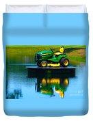 John Deere Mows The Water No 1 Duvet Cover