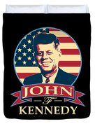 John F Kennedy American Banner Pop Art Duvet Cover