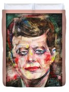 John F. Kennedy - Watercolor Portrait.3 Duvet Cover