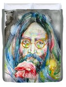 John Lennon - Watercolor Portrait.9 Duvet Cover