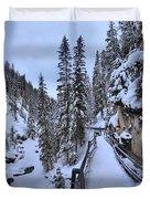 Johnston Canyon Winter Boardwalk Duvet Cover