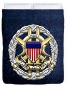Joint Chiefs Of Staff - J C S Identification Badge On Blue Velvet Duvet Cover