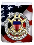 Joint Chiefs Of Staff - J C S Identification Badge Over U. S. Flag Duvet Cover