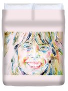 Joni Mitchell - Watercolor Portrait Duvet Cover