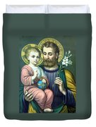Joseph And Baby Jesus Duvet Cover