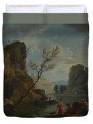 Joseph Vernet   A River With Fishermen Duvet Cover